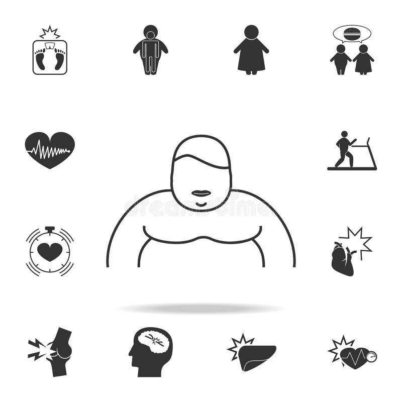 ένα παχύσαρκο εικονίδιο προσώπων Λεπτομερές σύνολο εικονιδίων παχυσαρκίας Γραφικό σχέδιο ασφαλίστρου Ένα από τα εικονίδια συλλογή απεικόνιση αποθεμάτων