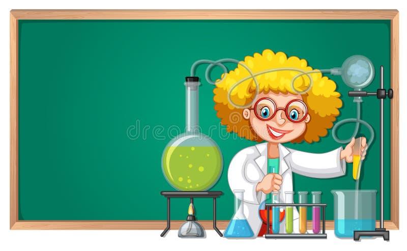 Ένα πείραμα scienctist στο εργαστήριο διανυσματική απεικόνιση