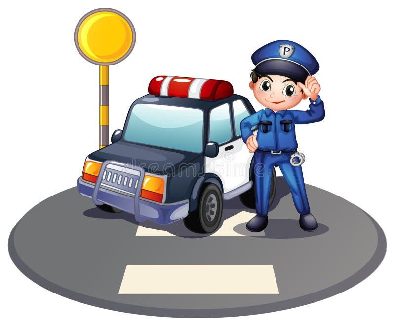 Ένα περιπολικό αυτοκίνητο και ο αστυνομικός κοντά στο φωτεινό σηματοδότη ελεύθερη απεικόνιση δικαιώματος