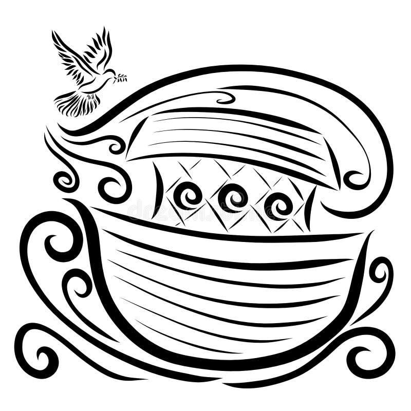 Ένα περιστέρι με ένα κλαδάκι στο ράμφος του πετά προς την κιβωτό, το νερό χτυπημάτων αέρα απεικόνιση αποθεμάτων