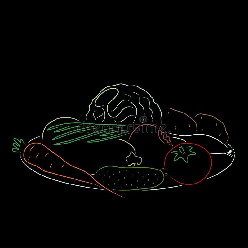 Ένα πιάτο με τα λαχανικά, διανυσματική απεικόνιση απεικόνιση αποθεμάτων