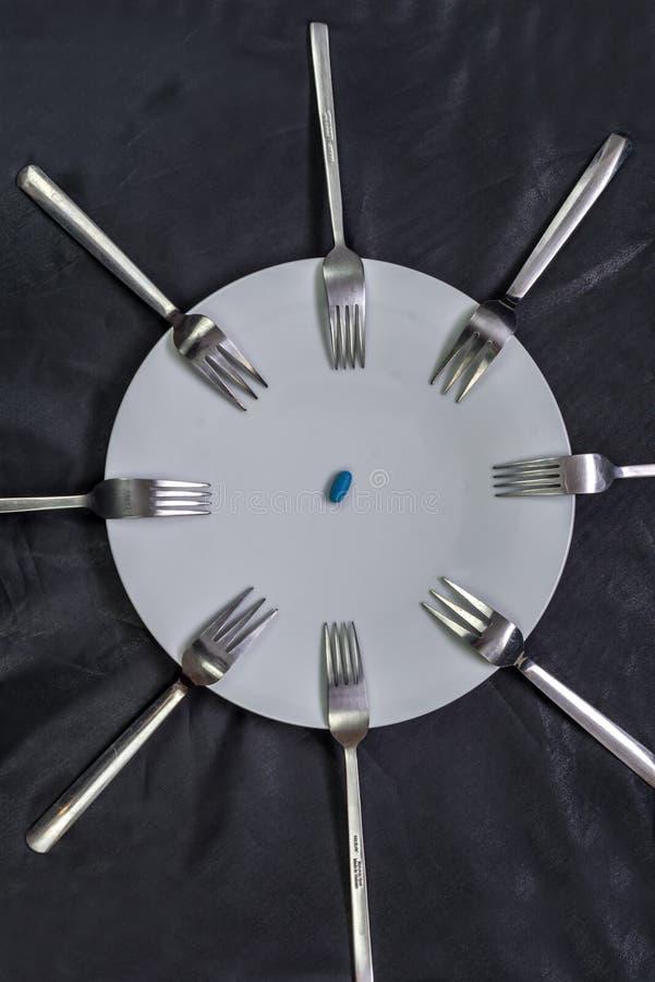 Ένα πιάτο με τα χάπια που περιβάλλουν από τα δίκρανα στοκ εικόνα