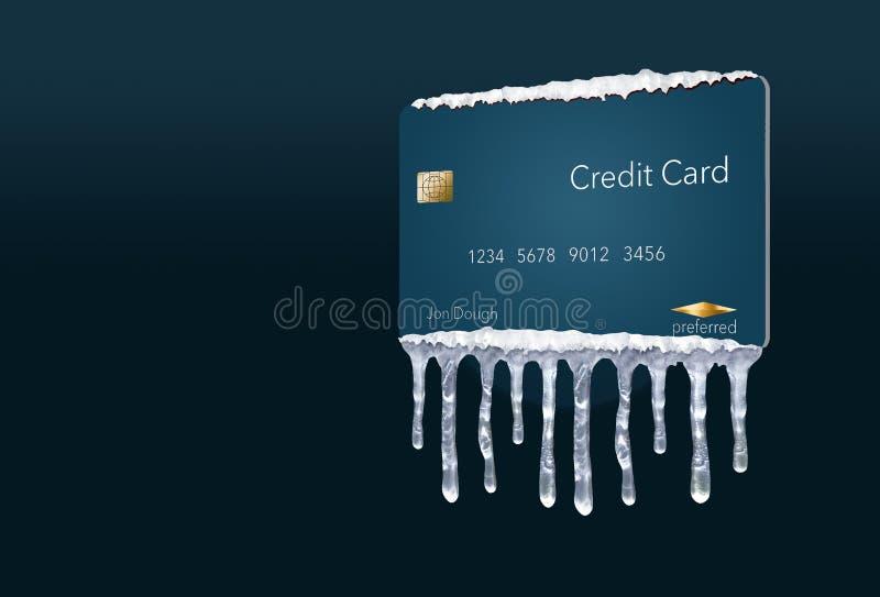 Ένα πιστωτικό πάγωμα, ή το πάγωμα στην πιστωτική έκθεσή σας αντιπροσωπεύεται με τα παγάκια και το χιόνι σε μια πλαστή πιστωτική κ απεικόνιση αποθεμάτων