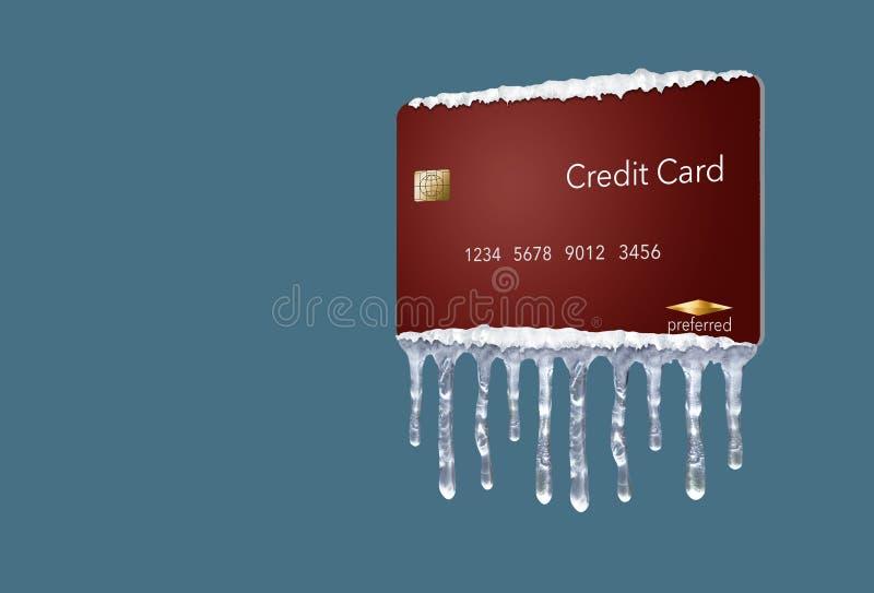 Ένα πιστωτικό πάγωμα, ή το πάγωμα στην πιστωτική έκθεσή σας αντιπροσωπεύεται με τα παγάκια και το χιόνι σε μια πλαστή πιστωτική κ διανυσματική απεικόνιση