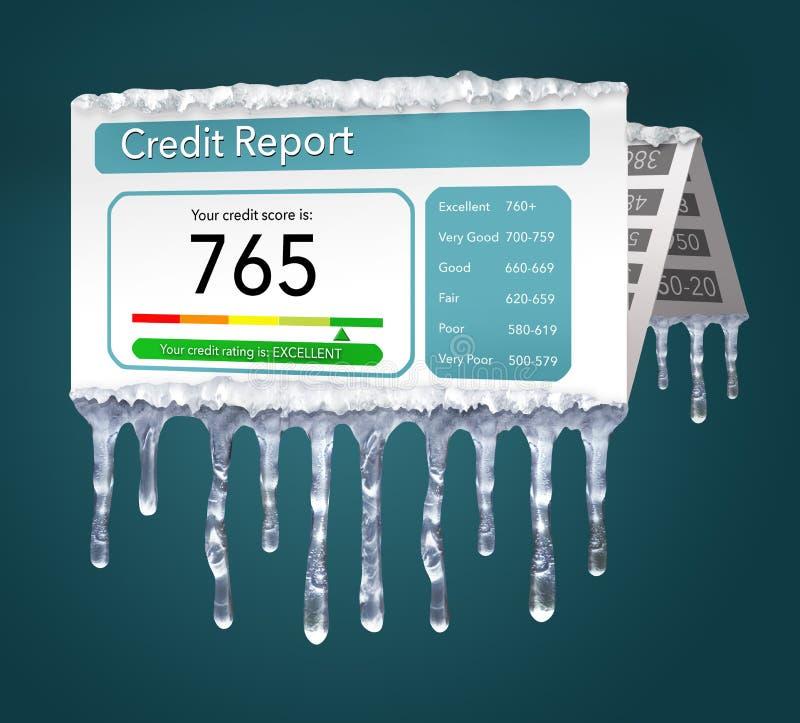 Ένα πιστωτικό πάγωμα, ή το πάγωμα στην πιστωτική έκθεσή σας αντιπροσωπεύεται με τα παγάκια και το χιόνι σε μια πλαστή πιστωτική έ ελεύθερη απεικόνιση δικαιώματος