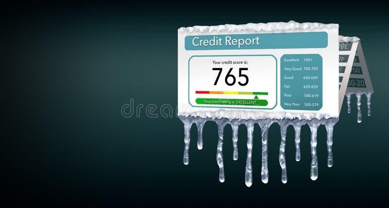 Ένα πιστωτικό πάγωμα, ή το πάγωμα στην πιστωτική έκθεσή σας αντιπροσωπεύεται με τα παγάκια και το χιόνι σε μια πλαστή πιστωτική έ διανυσματική απεικόνιση