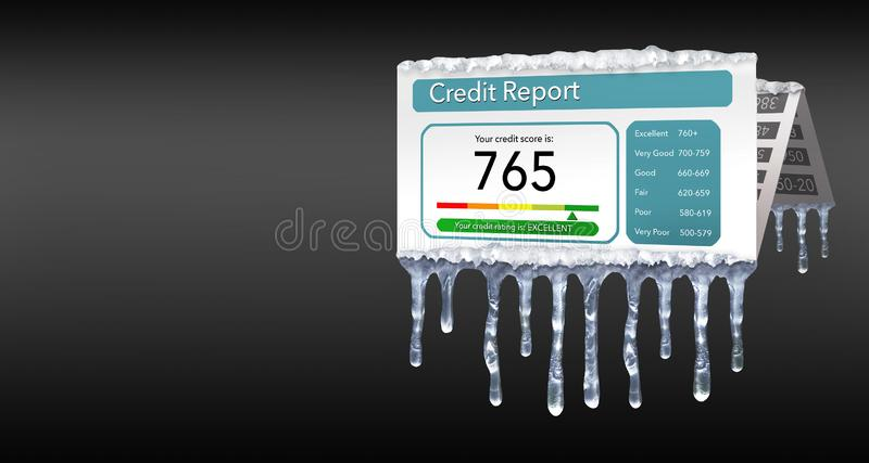 Ένα πιστωτικό πάγωμα, ή το πάγωμα στην πιστωτική έκθεσή σας αντιπροσωπεύεται με τα παγάκια και το χιόνι σε μια πλαστή πιστωτική έ απεικόνιση αποθεμάτων