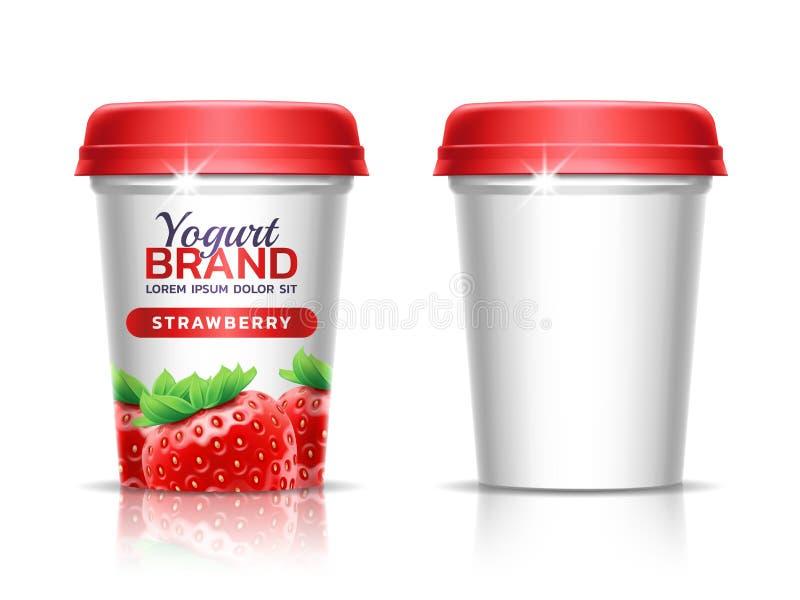 Ένα πλαστικό φλυτζάνι με το καπάκι για τα γαλακτοκομικά προϊόντα Φλυτζάνι εγγράφου για τα ποτά Πρότυπο σχεδίου συσκευασίας τρισδι διανυσματική απεικόνιση