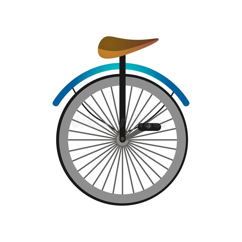 Ένα ποδήλατο τσίρκων ροδών με τα πεντάλια και το κάθισμα μετάλλων ελεύθερη απεικόνιση δικαιώματος