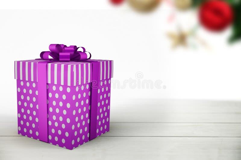 Ένα πορφυρό δώρο Χριστουγέννων με την κορδέλλα απεικόνιση αποθεμάτων