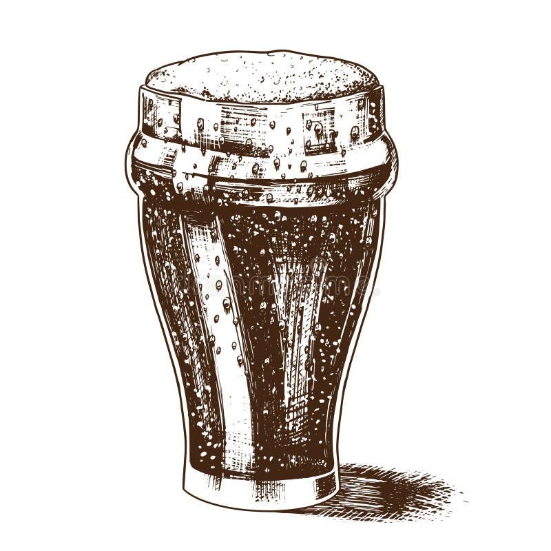 Ένα ποτήρι της μπύρας με τον αφρό Βαυαρικό οινοπνευματώδες ποτό στο εκλεκτής ποιότητας αναδρομικό ύφος Hand-drawn σκίτσο για επιλ απεικόνιση αποθεμάτων