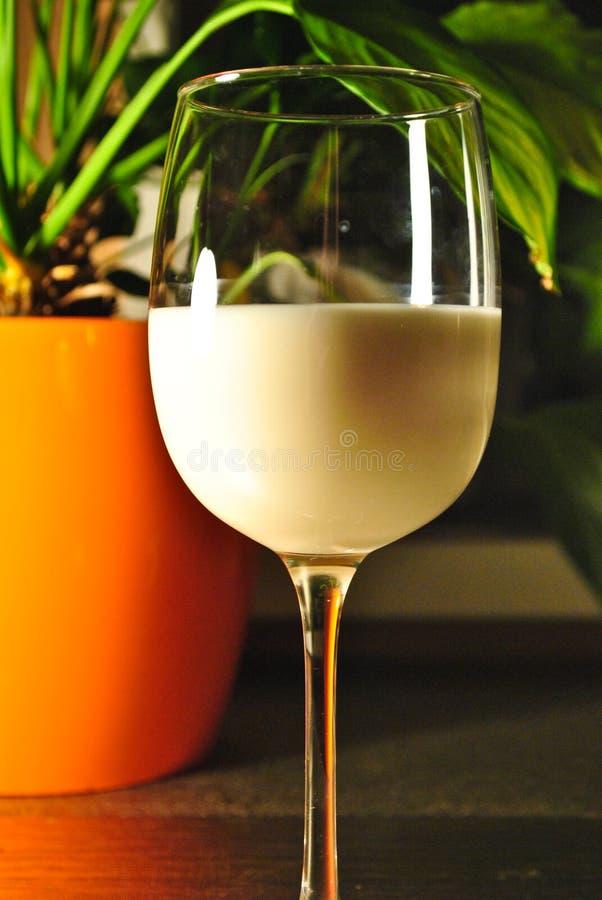 Ένα ποτήρι του γάλακτος σε έναν πίνακα στο φως βραδιού στοκ εικόνες με δικαίωμα ελεύθερης χρήσης