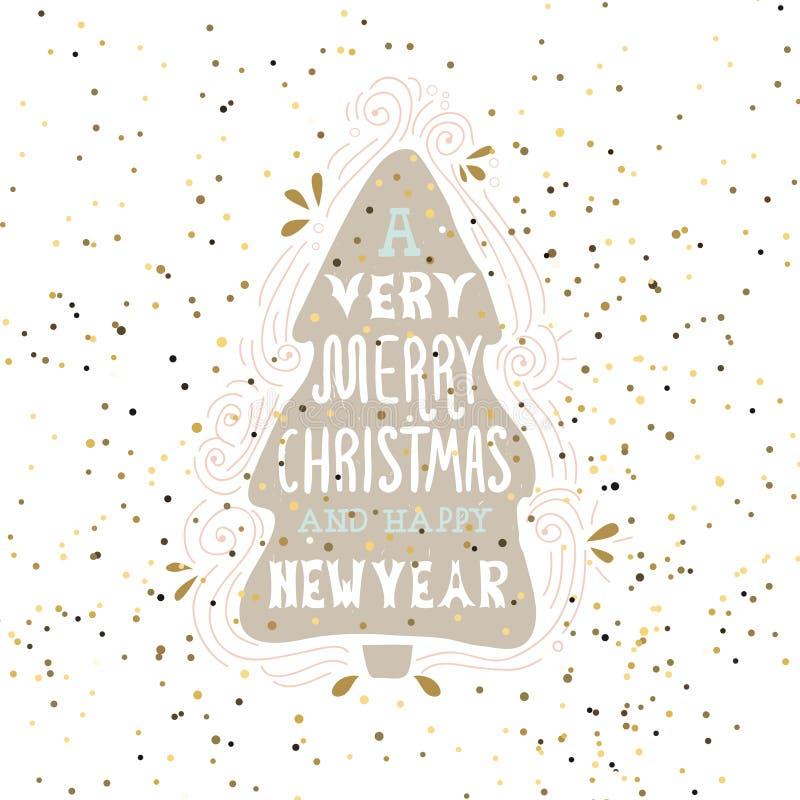 Ένα πολύ εύθυμο ρητό χειμερινών διακοπών Χριστουγέννων Συρμένη χέρι ευχετήρια κάρτα με τη χειρόγραφη εγγραφή και το χριστουγεννιά διανυσματική απεικόνιση