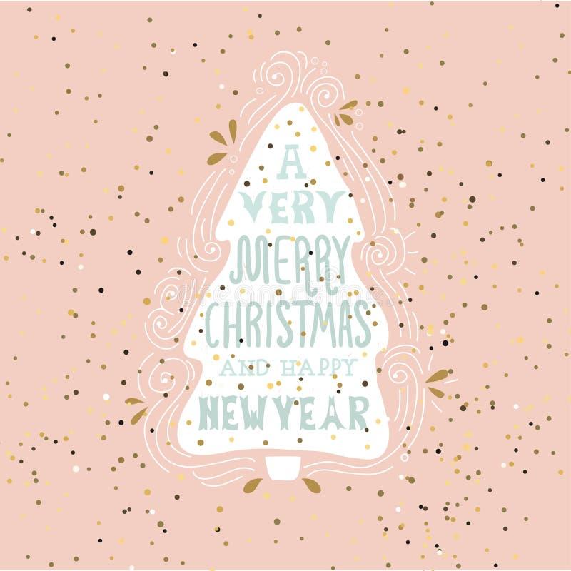Ένα πολύ εύθυμο ρητό χειμερινών διακοπών Χριστουγέννων Συρμένη χέρι ευχετήρια κάρτα με τη χειρόγραφη εγγραφή και το χριστουγεννιά ελεύθερη απεικόνιση δικαιώματος