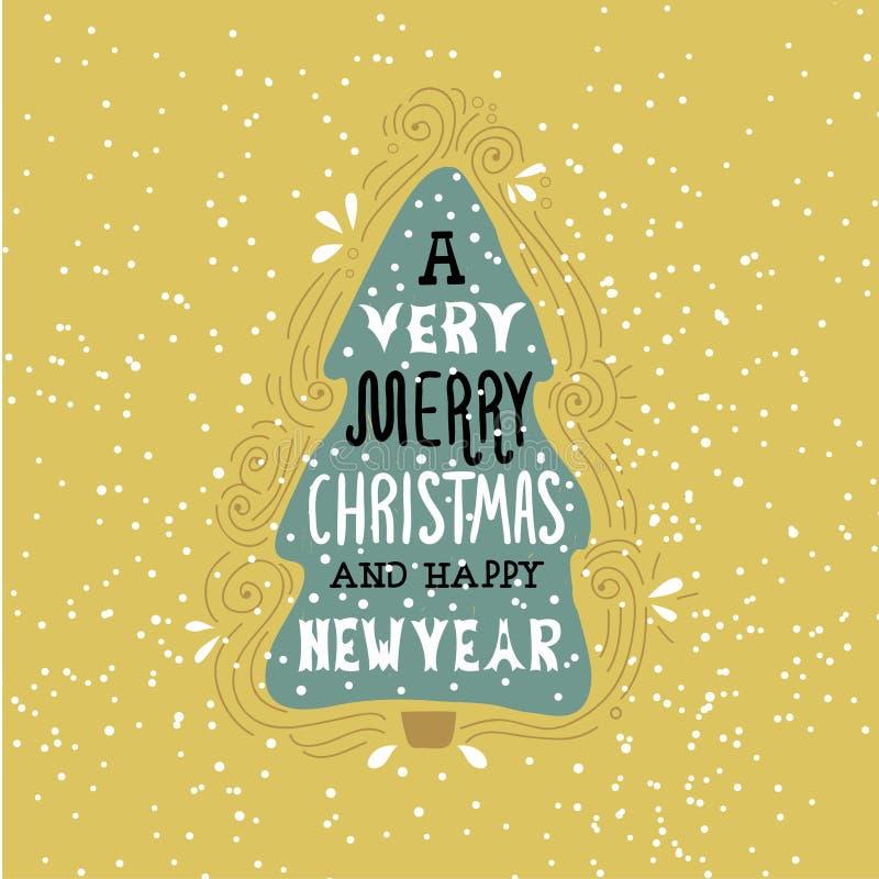 Ένα πολύ εύθυμο ρητό χειμερινών διακοπών Χριστουγέννων Συρμένη χέρι ευχετήρια κάρτα με τη χειρόγραφη εγγραφή και το χριστουγεννιά απεικόνιση αποθεμάτων
