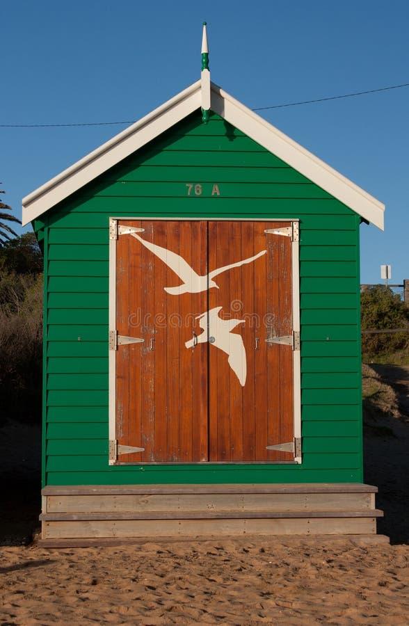 Ένα πράσινο κιβώτιο λουσίματος στην παραλία του Μπράιτον στη Μελβούρνη στοκ φωτογραφίες με δικαίωμα ελεύθερης χρήσης
