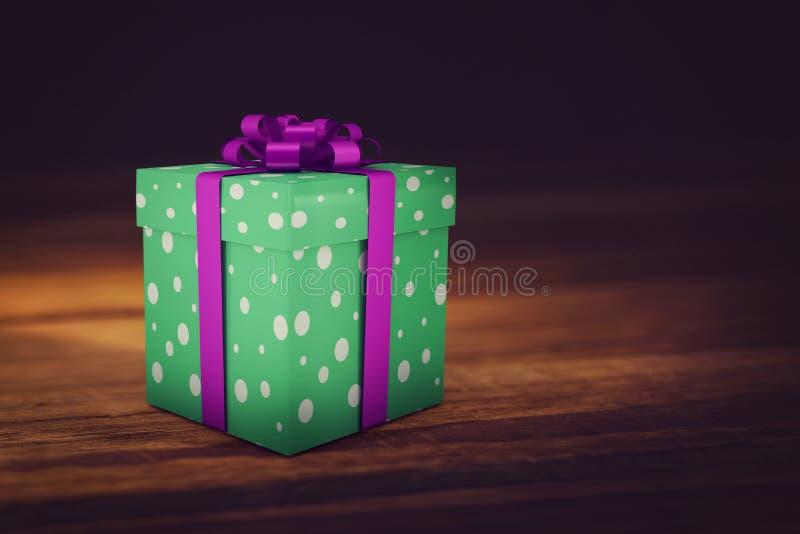 Ένα πράσινο χριστουγεννιάτικο δώρο με την πορφυρή κορδέλλα ελεύθερη απεικόνιση δικαιώματος