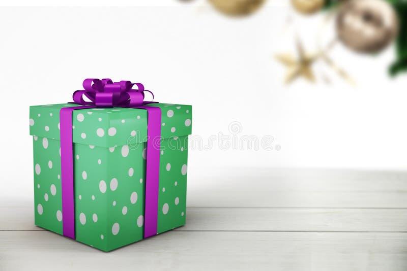 Ένα πράσινο χριστουγεννιάτικο δώρο με την πορφυρή κορδέλλα διανυσματική απεικόνιση