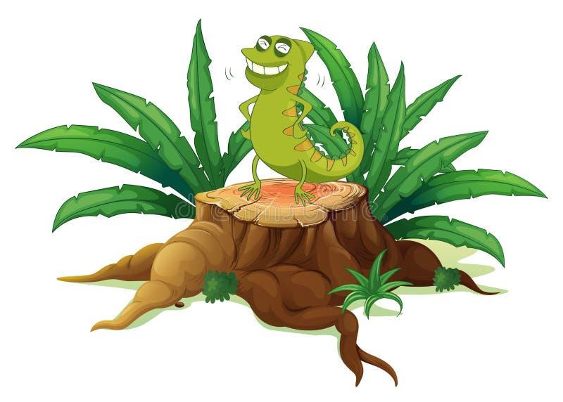 Ένα πράσινο iguana επάνω από έναν κορμό διανυσματική απεικόνιση