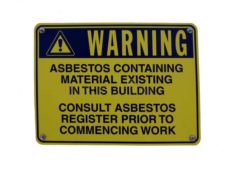 Ένα προειδοποιητικό σημάδι σε μια οικοδόμηση που συμβουλεύει ότι τα υλικά περιέχουν τον αμίαντο στοκ εικόνα
