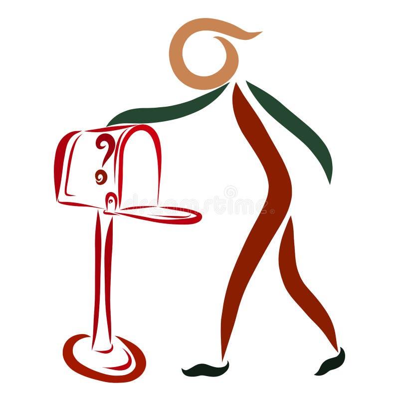 Ένα πρόσωπο ελέγχει την ταχυδρομική θυρίδα περιμένοντας το ταχυδρομείο διανυσματική απεικόνιση