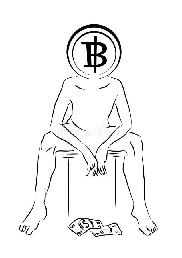 Ένα πρόσωπο με έναν προϊστάμενο Bitcoin κάθεται πέρα από ένα μειωμένο δολάριο, οικονομική σύλληψη επίσης corel σύρετε το διάνυσμα ελεύθερη απεικόνιση δικαιώματος