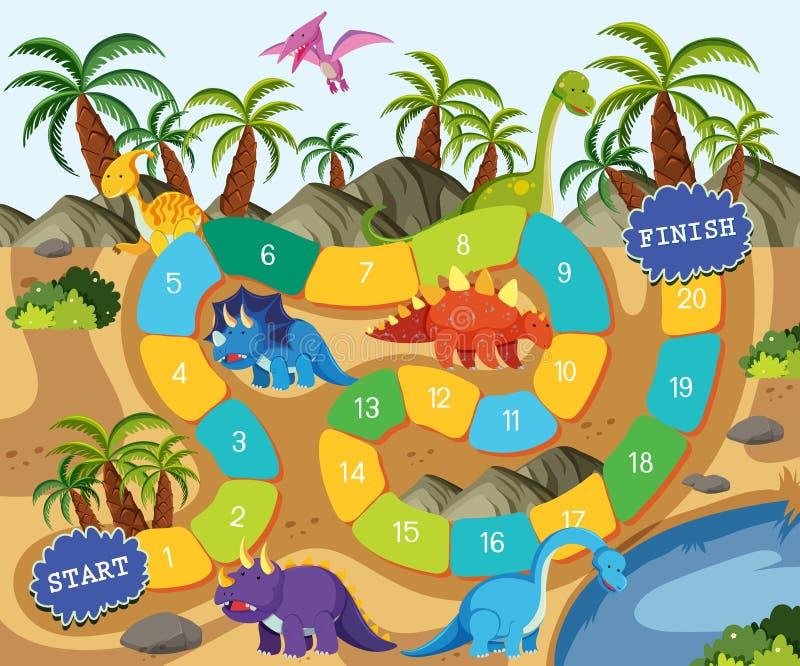 Ένα πρότυπο επιτραπέζιων παιχνιδιών δεινοσαύρων διανυσματική απεικόνιση