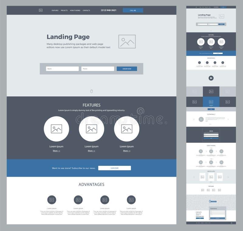 Ένα πρότυπο σχεδίου ιστοχώρου σελίδων για την επιχείρησή σας Προσγειωμένος σελίδα Wireframe Σχέδιο ιστοχώρου Ux ui Επίπεδο σύγχρο διανυσματική απεικόνιση