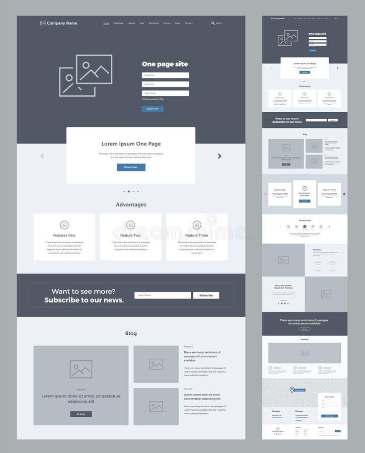 Ένα πρότυπο σχεδίου ιστοχώρου σελίδων για την επιχείρηση Προσγειωμένος σελίδα Wireframe Επίπεδο σύγχρονο απαντητικό σχέδιο Ιστοχώ ελεύθερη απεικόνιση δικαιώματος