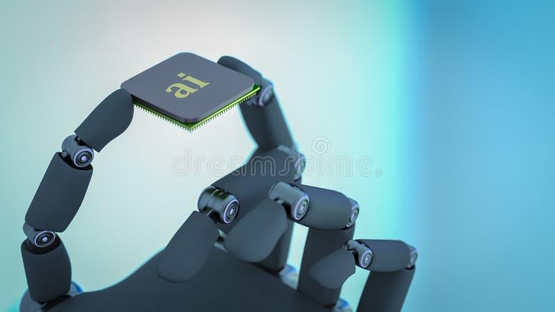 Ένα ρομπότ κρατά ένα τσιπ τεχνητής νοημοσύνης στο χέρι του απεικόνιση αποθεμάτων