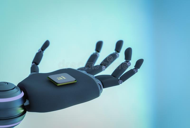 Ένα ρομπότ κρατά ένα τσιπ τεχνητής νοημοσύνης στο χέρι του ελεύθερη απεικόνιση δικαιώματος