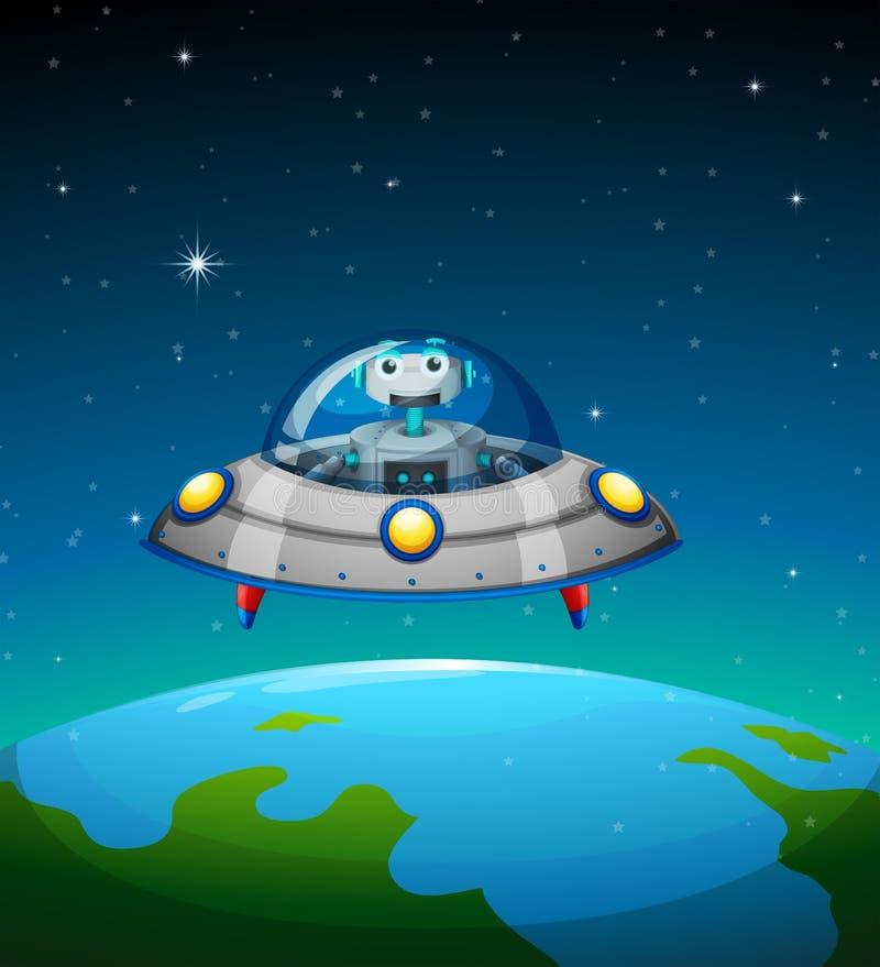 Ένα ρομπότ μέσα στο διαστημόπλοιο απεικόνιση αποθεμάτων