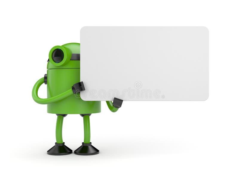 Ένα ρομπότ που κρατά ένα σημάδι διανυσματική απεικόνιση