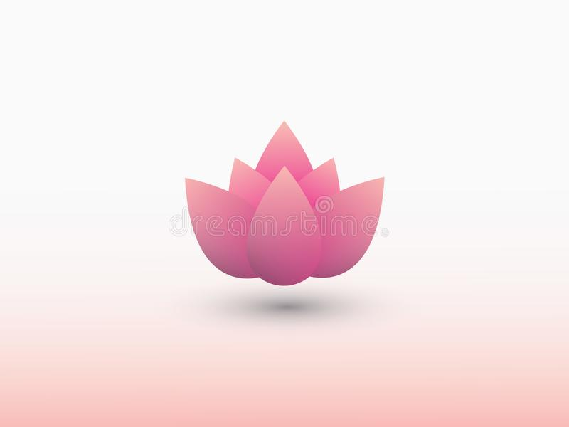 Ένα ρόδινο λογότυπο λουλουδιών κρίνων νερού στο ελαφρύ διάνυσμα υποβάθρου ελεύθερη απεικόνιση δικαιώματος