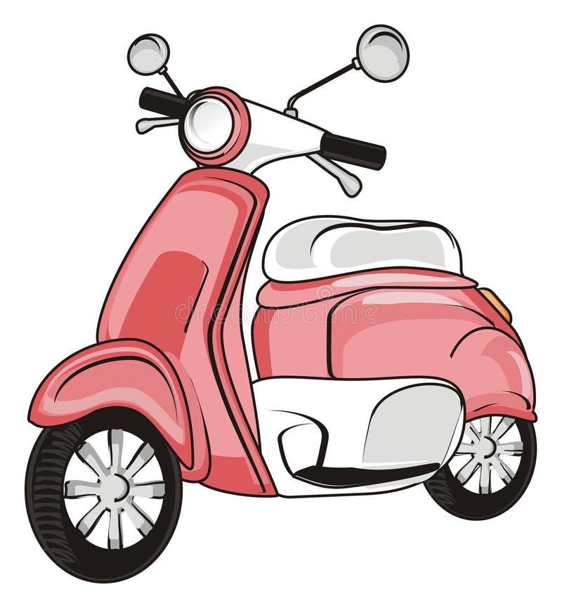 Ένα ρόδινο μοτοποδήλατο διανυσματική απεικόνιση