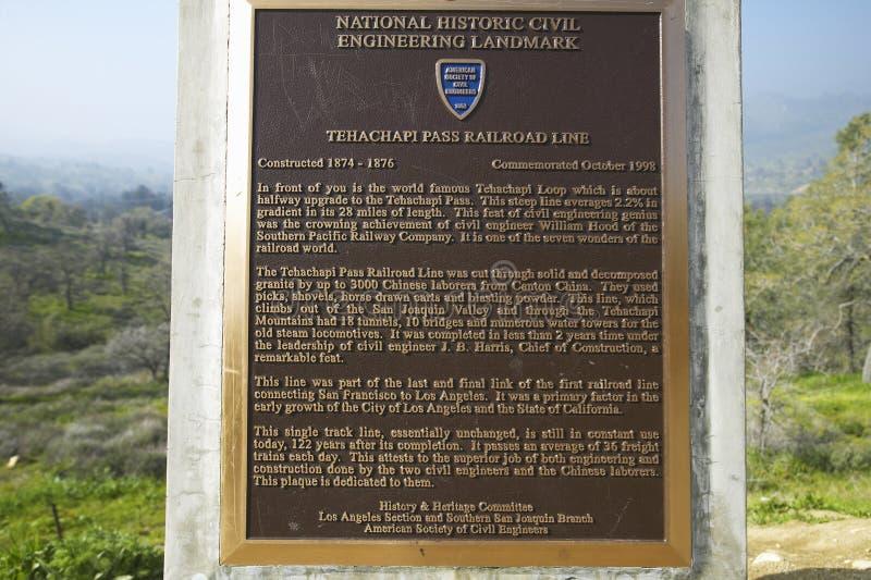 Ένα σημάδι μνημείων που παρουσιάζει από το 1955 βρόχο τραίνων Tehachapi κοντά σε Tehachapi Καλιφόρνια είναι η ιστορική θέση του ν στοκ φωτογραφία με δικαίωμα ελεύθερης χρήσης