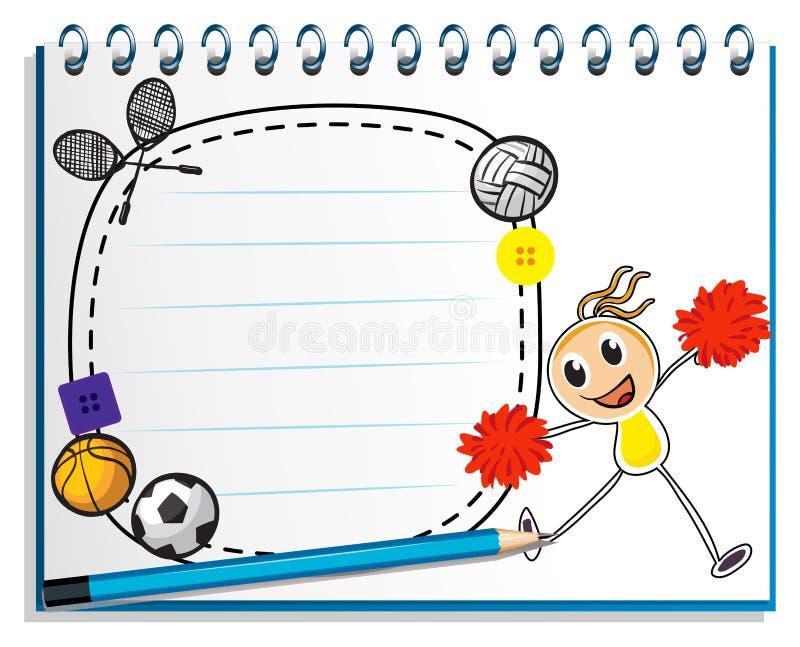 Ένα σημειωματάριο με ένα σκίτσο μιας νέας μαζορέτας απεικόνιση αποθεμάτων