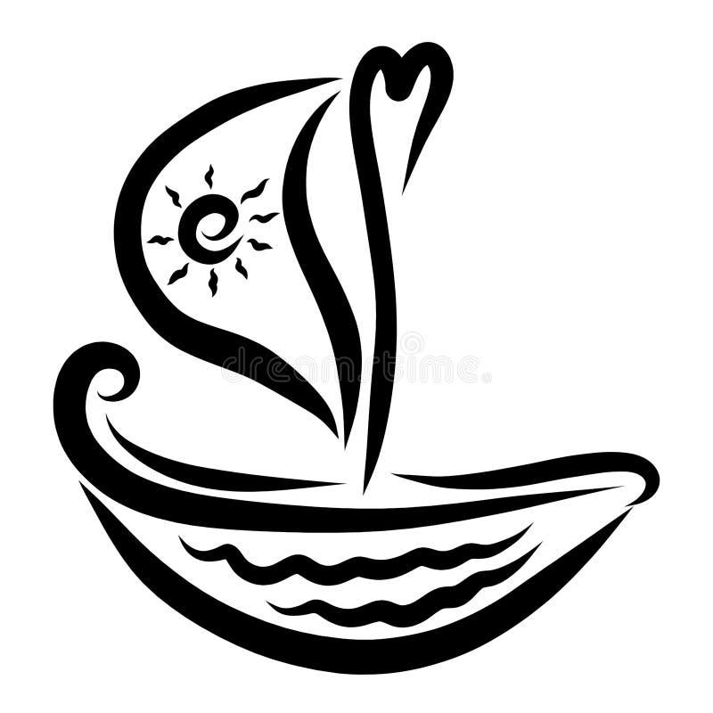 Ένα σκάφος με μια καρδιά και ένας ήλιος σε ένα πανί απεικόνιση αποθεμάτων