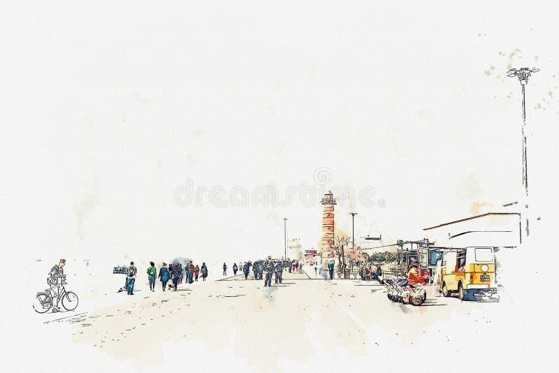 Ένα σκίτσο ή μια απεικόνιση watercolor Ανάχωμα στην περιοχή του Βηθλεέμ στη Λισσαβώνα διανυσματική απεικόνιση