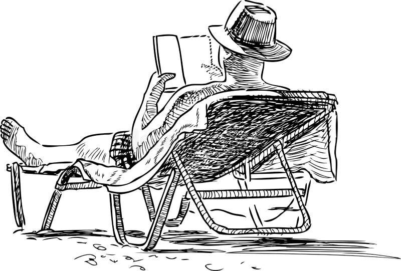 Ένα σκίτσο ενός προσώπου στην παραλία διανυσματική απεικόνιση