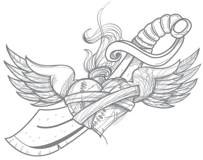 Ένα σκίτσο μιας δερματοστιξίας Καρδιά με τα φτερά και ένα ξίφος Σχεδιασμός για το χρωματισμό απεικόνιση αποθεμάτων