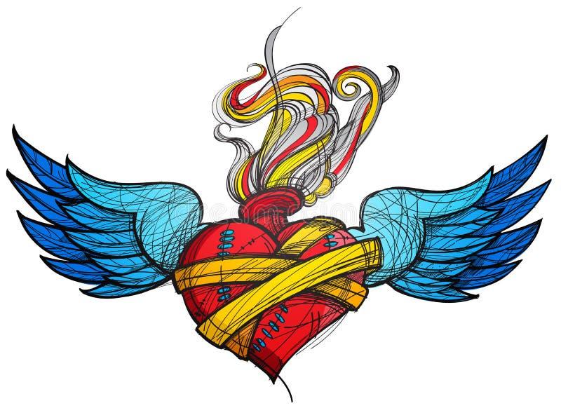 Ένα σκίτσο μιας δερματοστιξίας Καρδιά με τα φτερά και την έγχρωμη εικονογράφηση λουλουδιών ελεύθερη απεικόνιση δικαιώματος