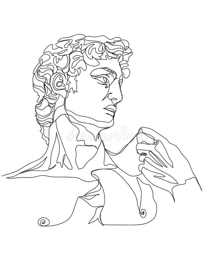 Ένα σκίτσο σχεδίων γραμμών Γλυπτό του Δαβίδ Μοντέρνα ενιαία τέχνη γραμμών, αισθητικό περίγραμμα διανυσματική απεικόνιση