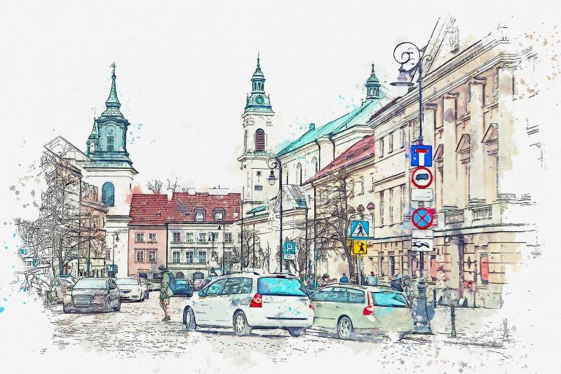 Ένα σκίτσο watercolor ή μια απεικόνιση μιας παραδοσιακής οδού με τις πολυκατοικίες στη Βαρσοβία απεικόνιση αποθεμάτων