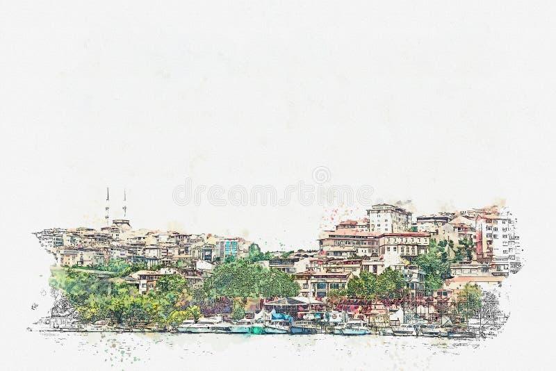 Ένα σκίτσο watercolor ή μια απεικόνιση μιας όμορφης άποψης της παραδοσιακής αρχιτεκτονικής στη Ιστανμπούλ ελεύθερη απεικόνιση δικαιώματος