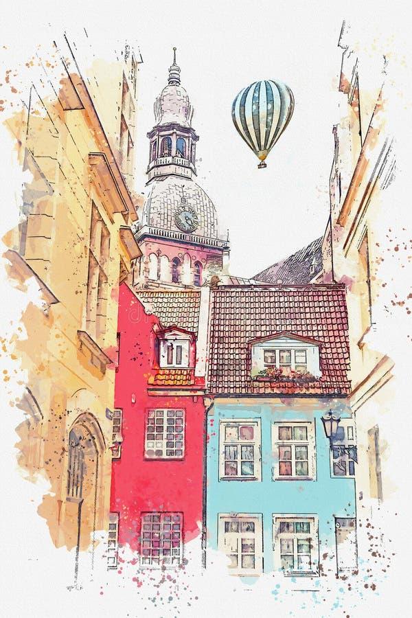 Ένα σκίτσο watercolor ή μια απεικόνιση μιας όμορφης άποψης της αρχιτεκτονικής της Ρήγας απεικόνιση αποθεμάτων