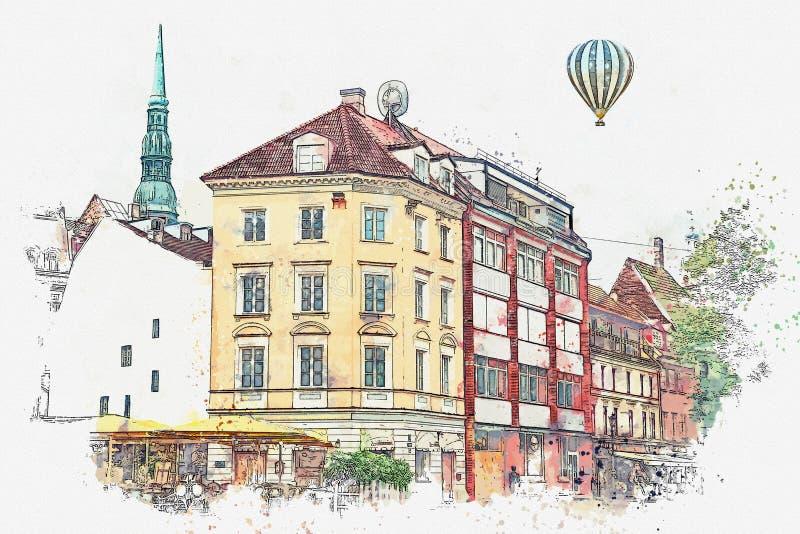 Ένα σκίτσο watercolor ή μια απεικόνιση μιας όμορφης άποψης της αρχιτεκτονικής της Ρήγας διανυσματική απεικόνιση