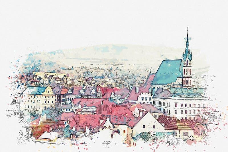 Ένα σκίτσο watercolor ή μια απεικόνιση της παραδοσιακής αρχιτεκτονικής και μια εκκλησία σε Cesky Krumlov στη Δημοκρατία της Τσεχί διανυσματική απεικόνιση