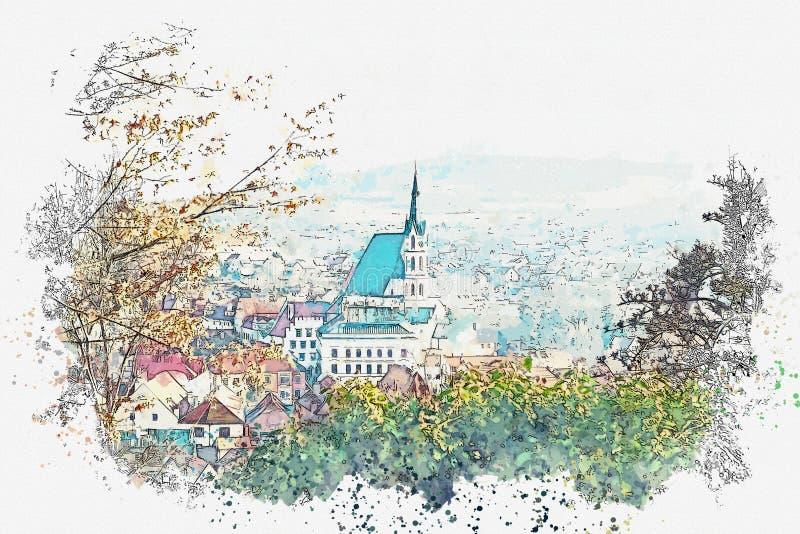 Ένα σκίτσο watercolor ή μια απεικόνιση της παραδοσιακής αρχιτεκτονικής και μια εκκλησία σε Cesky Krumlov στη Δημοκρατία της Τσεχί απεικόνιση αποθεμάτων