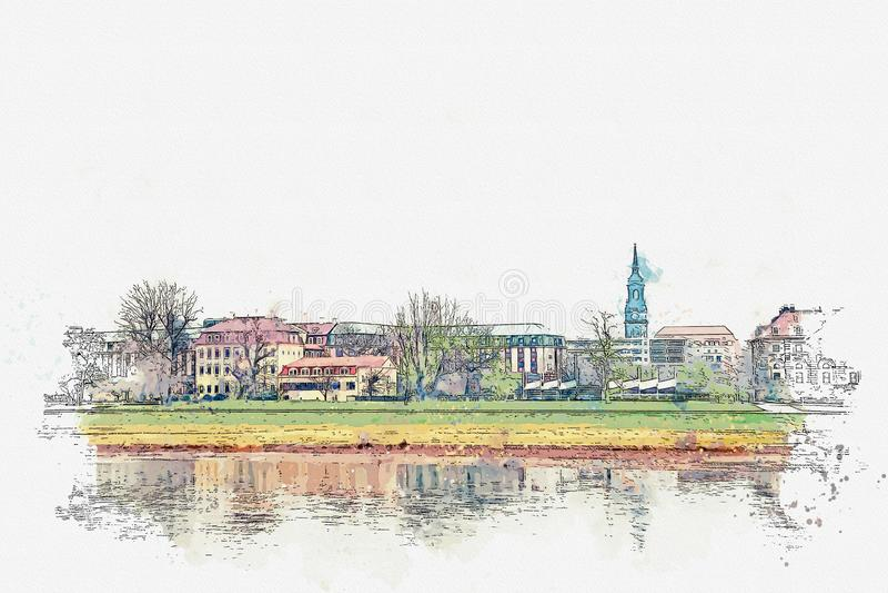 Ένα σκίτσο watercolor ή μια απεικόνιση Όμορφη άποψη της αρχιτεκτονικής της Δρέσδης στις όχθεις του ποταμού Elbe απεικόνιση αποθεμάτων
